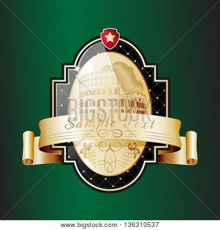 Ornate label with the sightseeing on the Colosseum (Rome). Vector illustration
