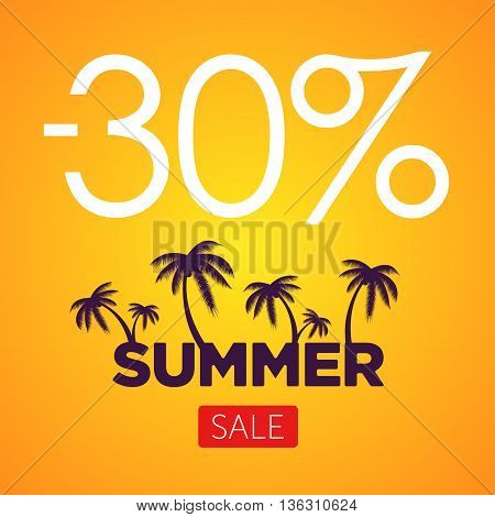 Summer Sale orange banner. Palm silhouette and text on orange background. Big discount.