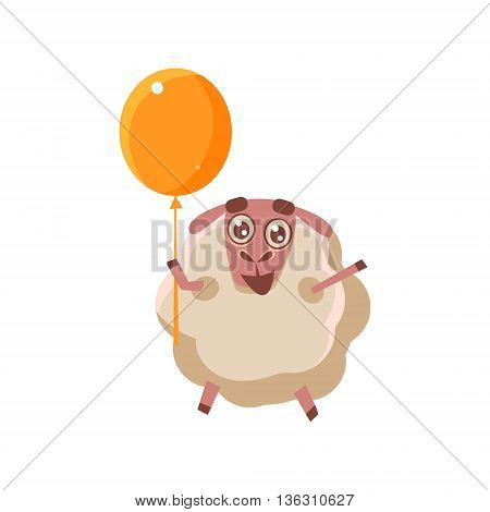 Sheep With Orange Balloon Cute Childish Style Bright Color Design Icon Isolated On White Background