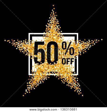 Golden Star and Frame with Discount Fifty Percent on Black