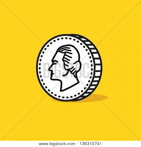 Antique portrait on a reverse of coin. Hand drawn style. Vector illustration