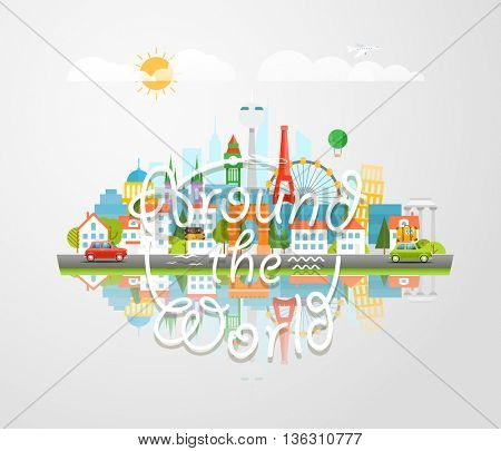 Dirrefent world famous sights. Around the world concept. Modern cityscape Vector 