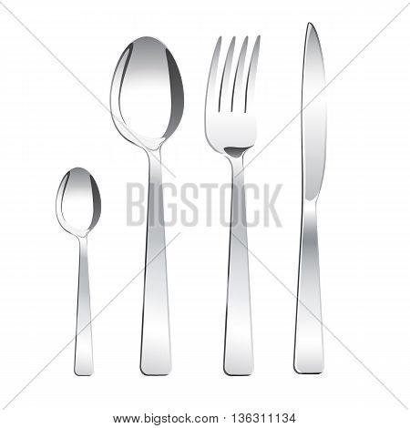 Tea spoon spoon fork and knife on white background. Isolated. Vector illustration