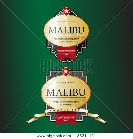 Ornate labels Malibu with Red Tapes. Vector illustration
