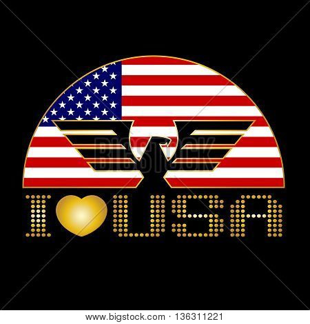 I Love Usa. Eagle And Flag Of The United States Vector Design