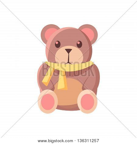 Toy Teddy Bear Cute Childish Style Light Color Design Icon Isolated On White Background