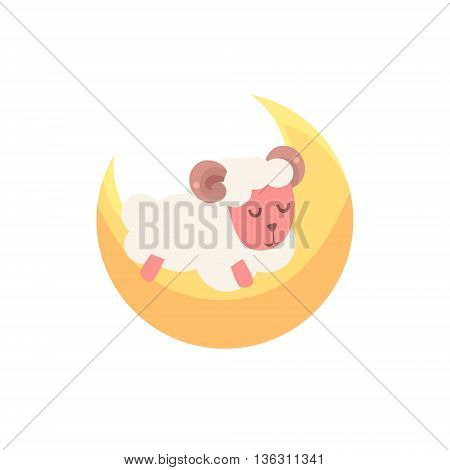 Toy Sheep Sleeping On The Crescent Cute Childish Style Light Color Design Icon Isolated On White Background