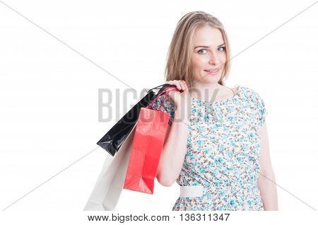 Portrait Of Beautiful Woman With Colored Bags