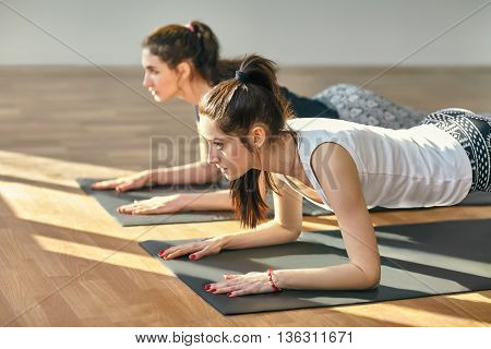 Two Young Women Doing Yoga Asana Low Plank Pose