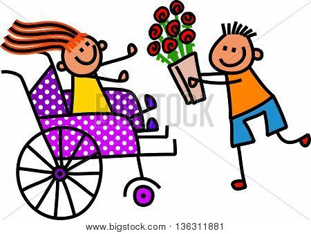 A doodle sketch of a little girl in a wheelchair receiving flowers from a boy.