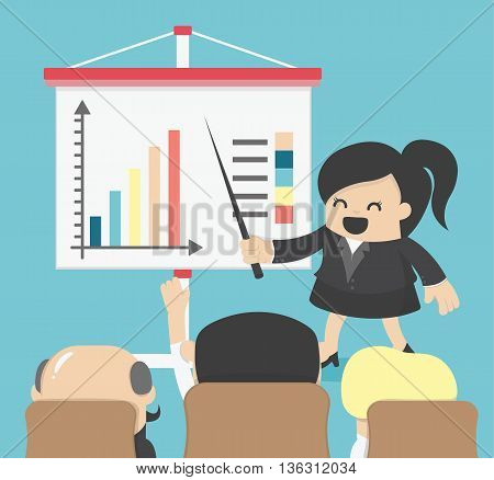 Business woman giving a presentation Illustration Concept
