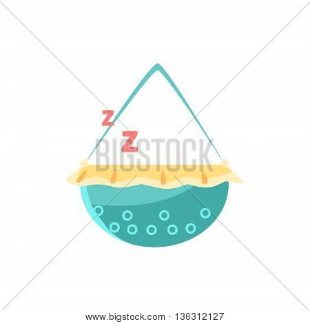 Cradle With Sleeping Baby Cute Childish Style Light Color Design Icon Isolated On White Background