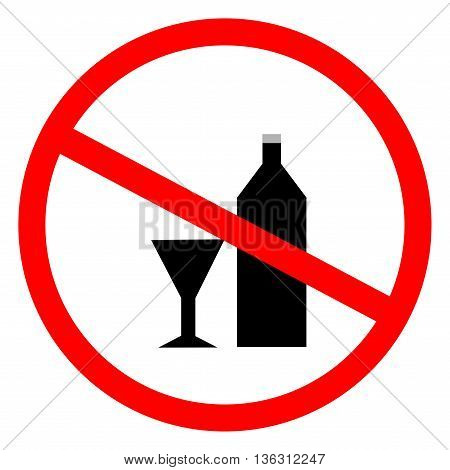 No alcohol sign in red ring. Isolated on white background. No drink symbol. No alcohol sign picture. White sticker vector illustration. Flat vector image. Vector illustration.