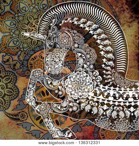 stylized profile unicorn on oriental floral shabby background
