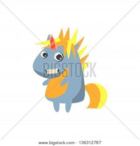 Punk Grey Unicorn Flat Bright Color Childish Cartoon Design Vector Illustration Isolated On White Background