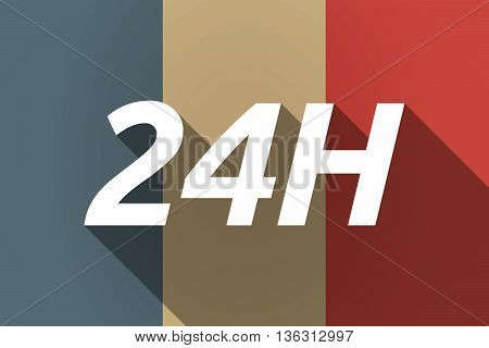 Vector Long Shadow France Flag With    The Text 24H