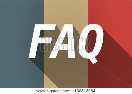 Vector Long Shadow France Flag With    The Text Faq