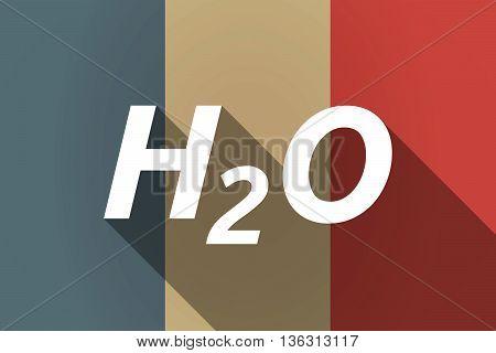 Vector Long Shadow France Flag With    The Text H2O