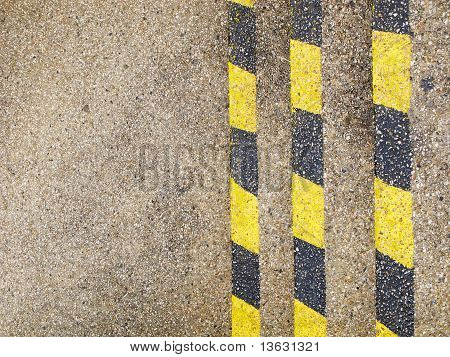 vertical yellow and black warning lines