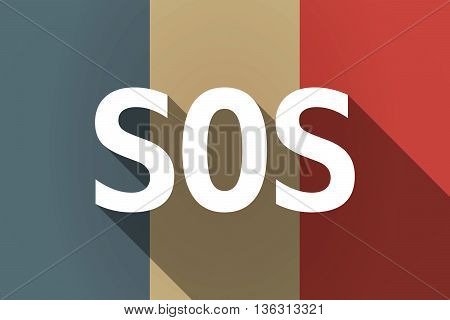 Vector Long Shadow France Flag With    The Text Sos