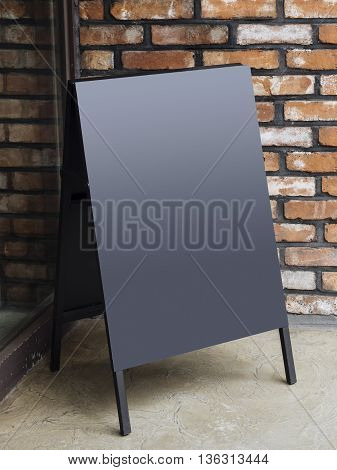 Signboard Stand Black Blank Menu Shop Restaurant with Brick wall