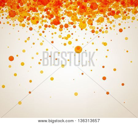 White paper background with orange and yellow drops. Vector illustration.