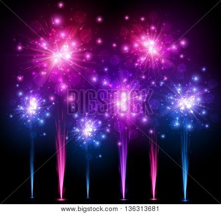 Festive colourful firework background. Vector illustration.