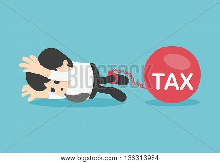 Sad businessman from tax for tax concept