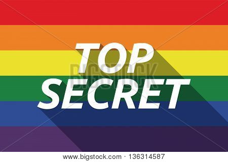 Vector Long Shadow Gay Pride Flag With    The Text Top Secret