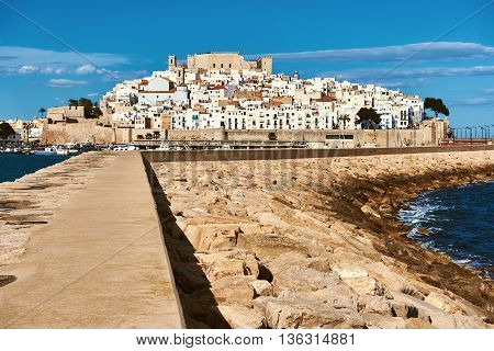 Harbor and old town of Peniscola. Costa del Azahar province of Castellon Valencian Community. Spain