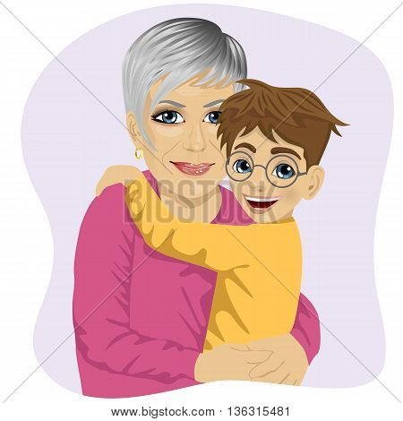 Grandmother hugging her cute grandson isolated on white background