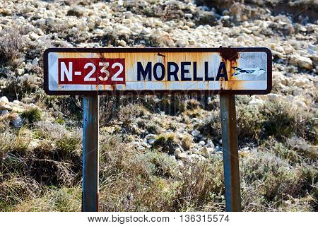 Old road sign of Morrela village province of Castellon Valencian Community. Spain