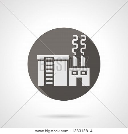 Abstract silhouette sign of industrial building factory with chimneys and tank, long shadow design. Industrial facilities theme. Round flat color style vector icon.