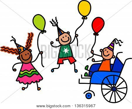 A doodle sketch of a happy little boy in a wheelchair holding a balloon at a birthday party celebration.