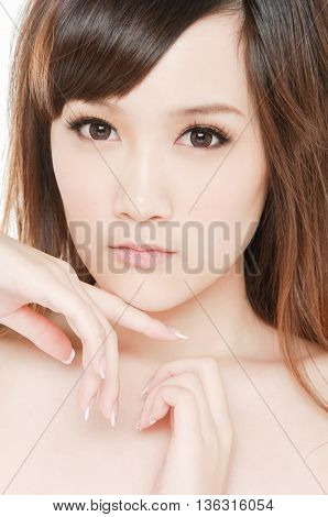 portrait of beautiful face of a young woman