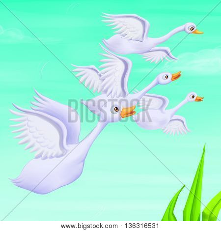 Four Ducks are flying in the sky