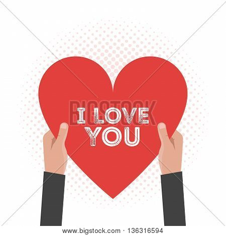 Vector I love You Lettering Card Hold Hands Vector Design Valentine's Day Theme