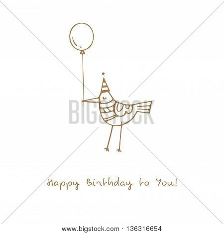 Birthday card with cute cartoon bird in party hat and balloon. Funny animal gives a gift. Vector contour image. Doodle style.