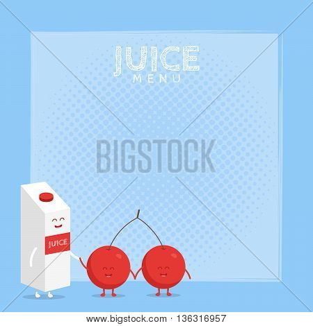 Kids restaurant menu cardboard character. Template for your projects, websites, invitations. Funny cute cherry juice packaging and glass drawn with a smile, eyes and hands.