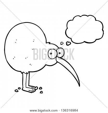 freehand drawn thought bubble cartoon kiwi