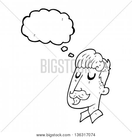 freehand drawn thought bubble cartoon man with mustache