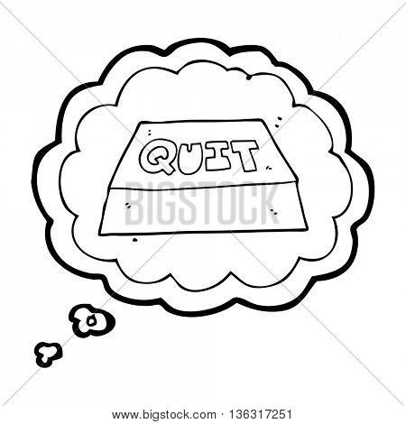 freehand drawn thought bubble cartoon quit button