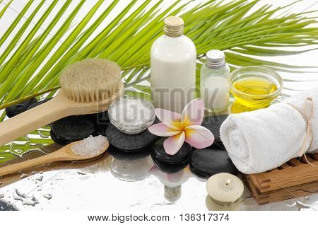 Spa Background with massage oil with spa set