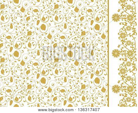 Set Hand drawn Seamless pattern and border chinese ornaments. Vector illustration
