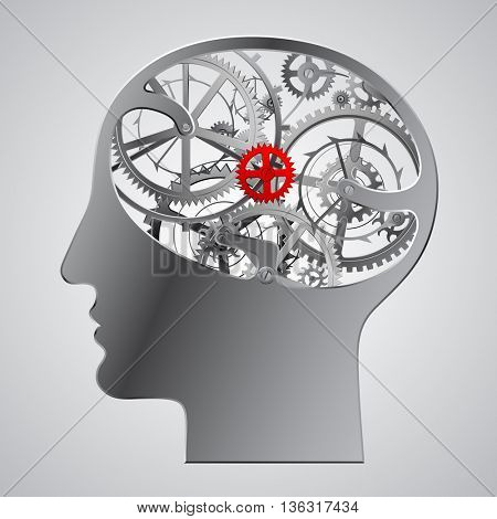 Human metallic head with brain gears. Techno symbol and Business Idea concept. Contains the Clipping Path
