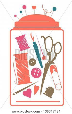 Stencil Illustration Featuring a Sewing Kit