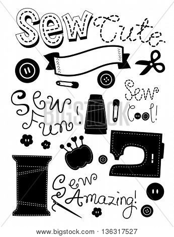 Stencil Illustration Featuring Sewing Materials