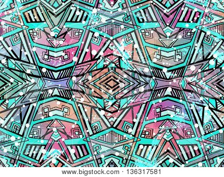 Abstract Background Geometric Tribal Ornament White