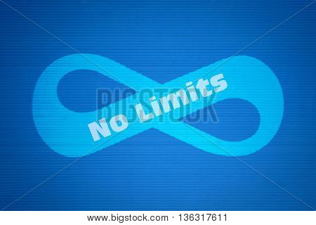 Mathematical symbol of infinity and text No Limits on blue background
