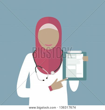 Muslim arabic woman doctor in hijab isolated. Medicine icon. Vector illustration flat design